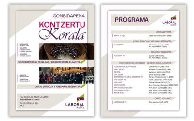 Diseño de la invitación de Laboral Kutxa para Concierto Coral