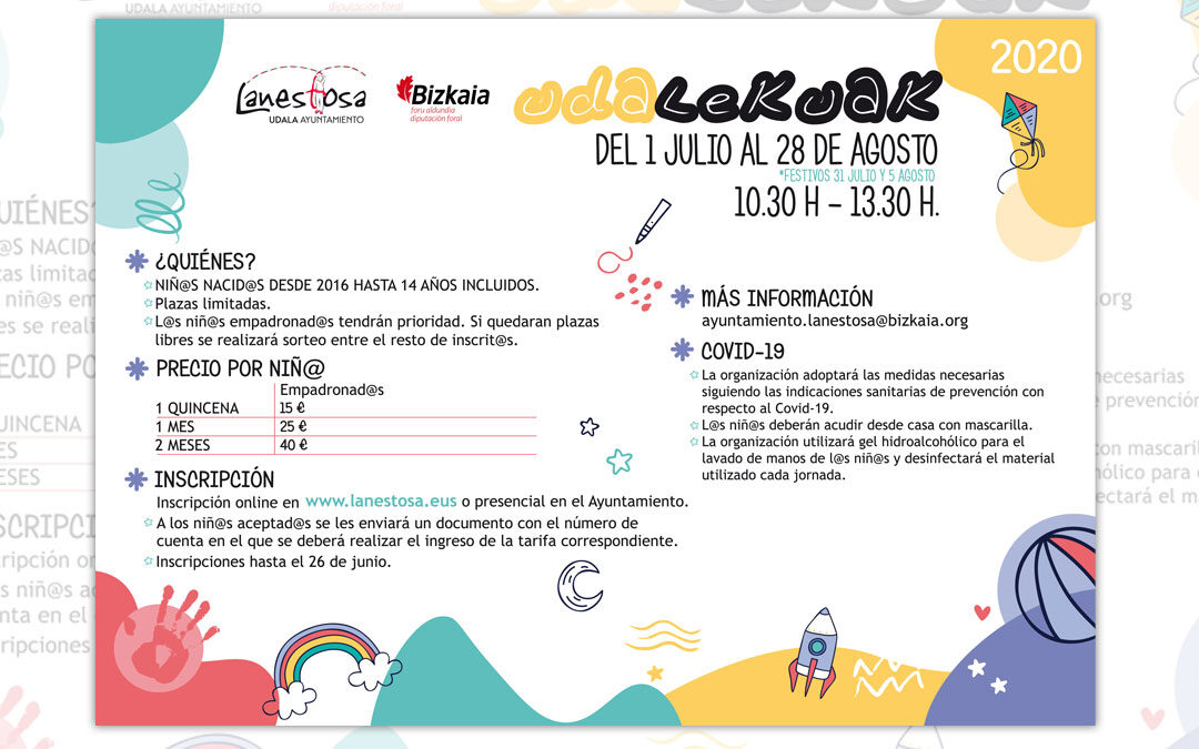 Diseñamos la imagen de los 'Udalekuak 2020' del Ayuntamiento de Lanestosa